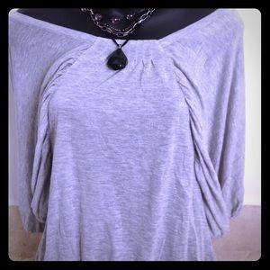 Club Monaco gray 3/4 sleeve off-shoulder top xs
